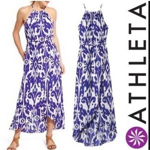 Athleta Cobalt Blue Ikat Bloom maxi dress